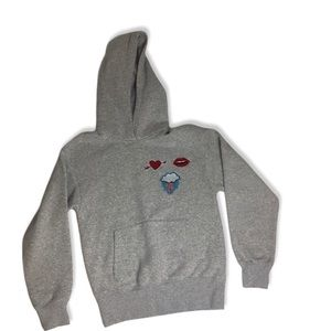 H&M Grey Cotton Blend Hoodie with Patches Size XS